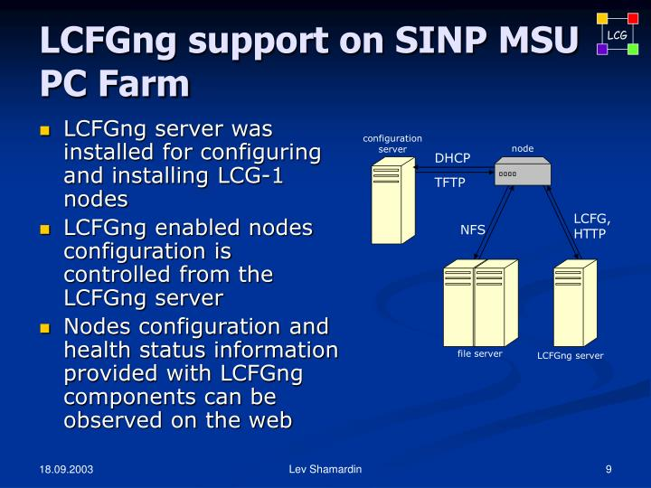 LCFGng support on SINP MSU PC Farm