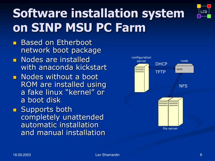 Software installation system on SINP MSU PC Farm