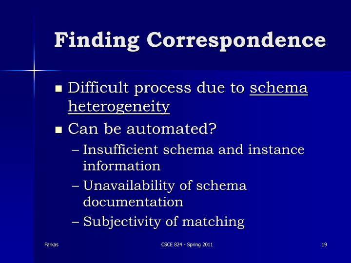 Finding Correspondence