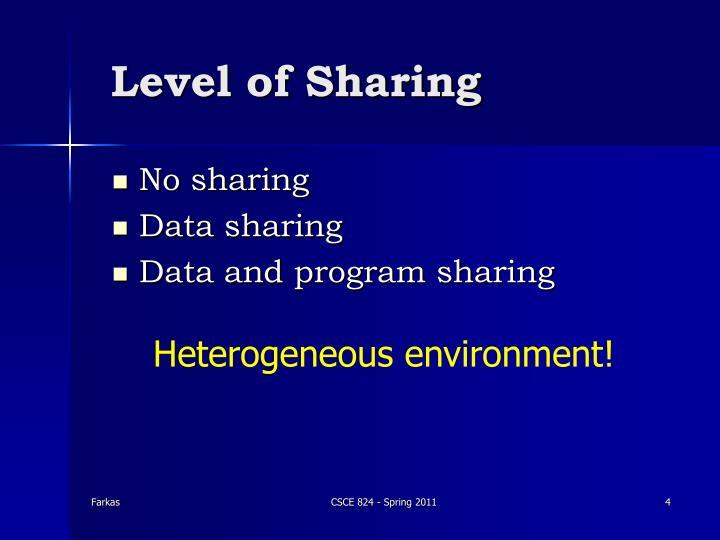 Level of Sharing