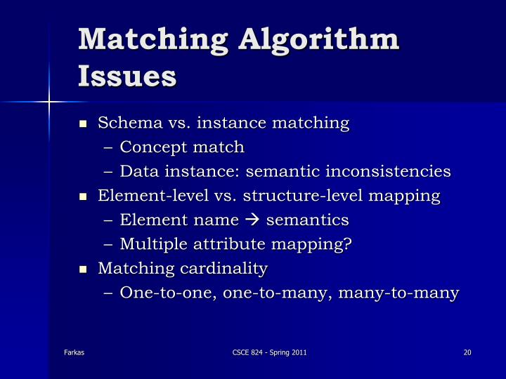 Matching Algorithm Issues