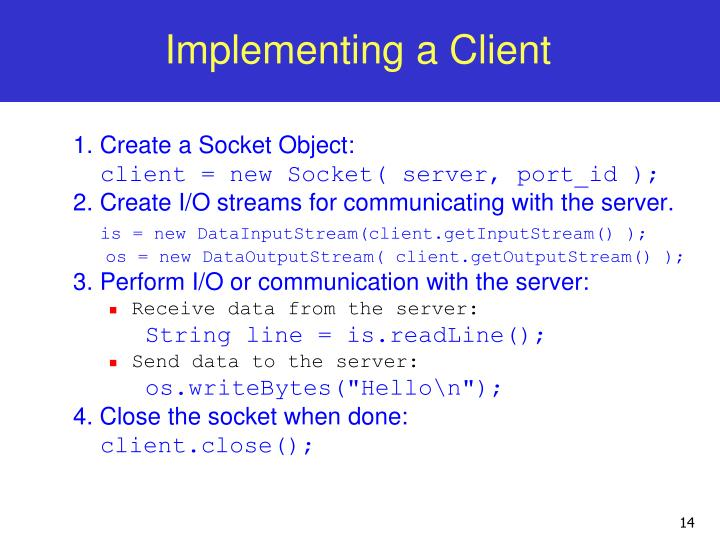 Implementing a Client