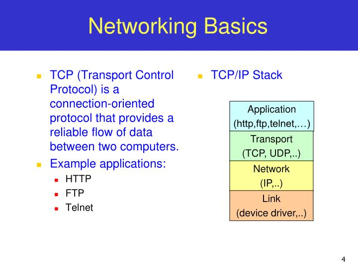 TCP (Transport Control Protocol) is a connection-oriented protocol that provides a reliable flow of data between two computers.