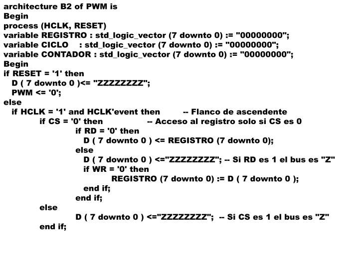 architecture B2 of PWM is