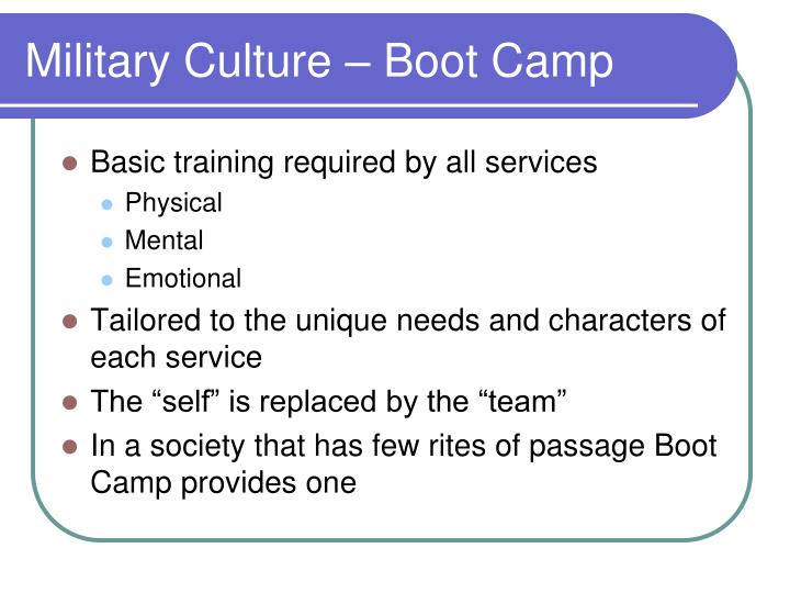 Military Culture – Boot Camp