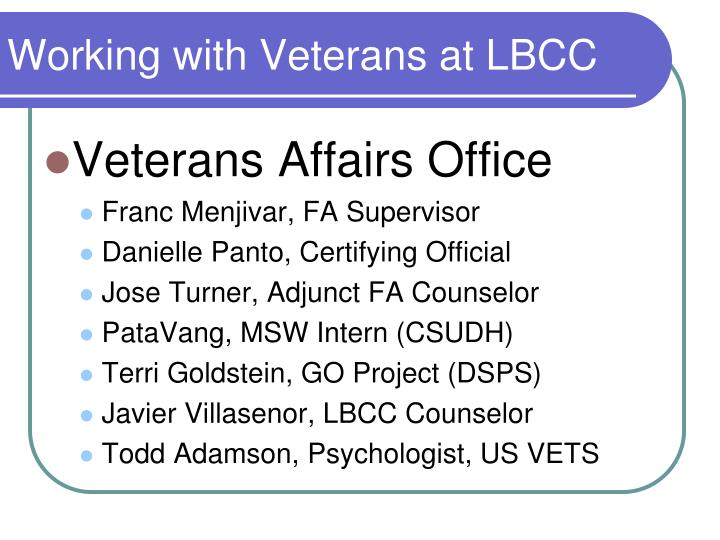 Working with Veterans at LBCC