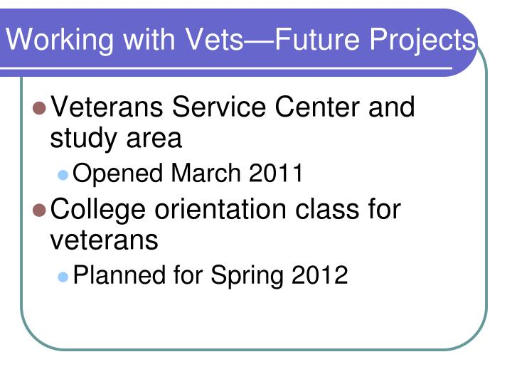 Working with Vets—Future Projects