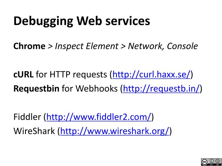 Debugging Web services