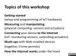 topics of this workshop