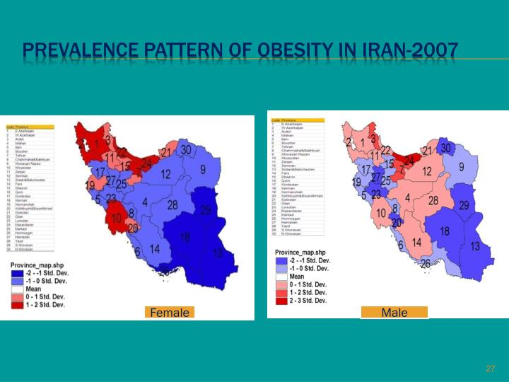 Prevalence pattern of obesity in iran-2007