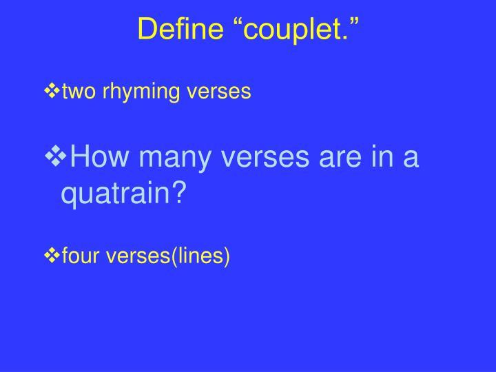 "Define ""couplet."""