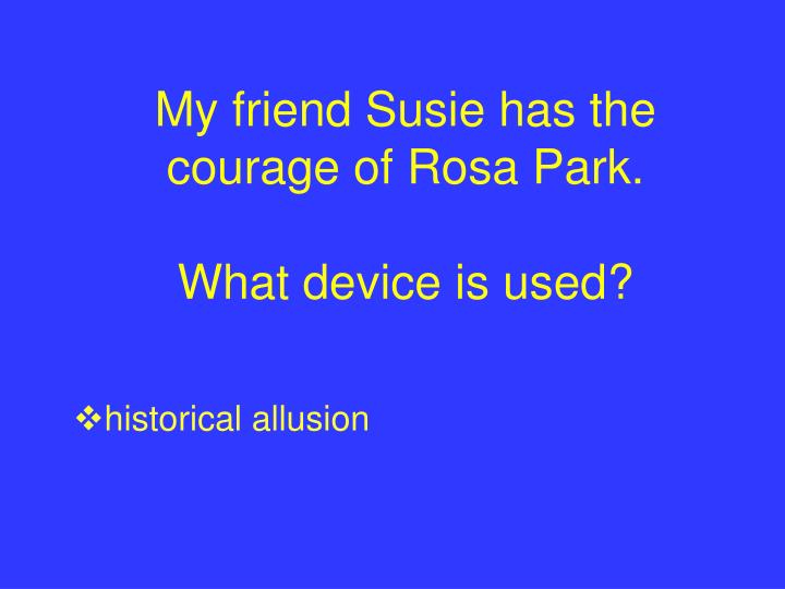 My friend Susie has the courage of Rosa Park.