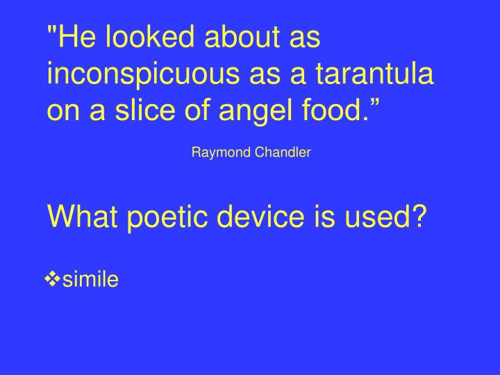 """""""He looked about as inconspicuous as a tarantula on a slice of angel food."""""""