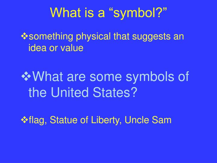 """What is a """"symbol?"""""""