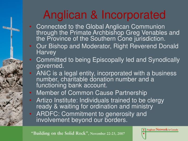 Anglican & Incorporated