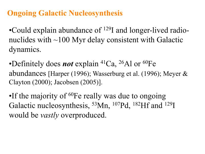 Ongoing Galactic Nucleosynthesis