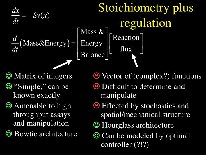 Stoichiometry plus regulation
