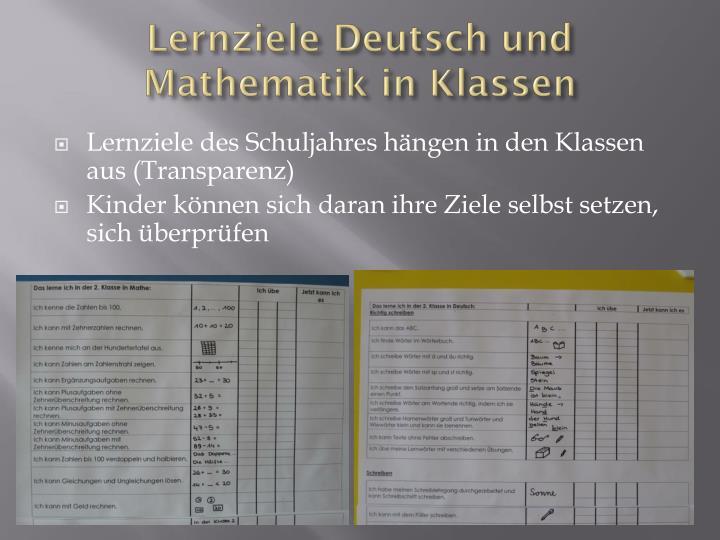 Lernziele Deutsch und Mathematik in Klassen