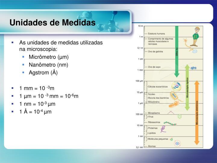 As unidades de medidas utilizadas na microscopia: