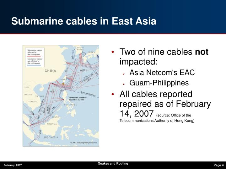 Submarine cables in East Asia