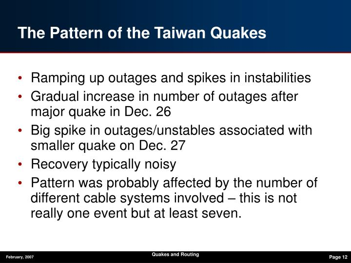 Quakes and Routing