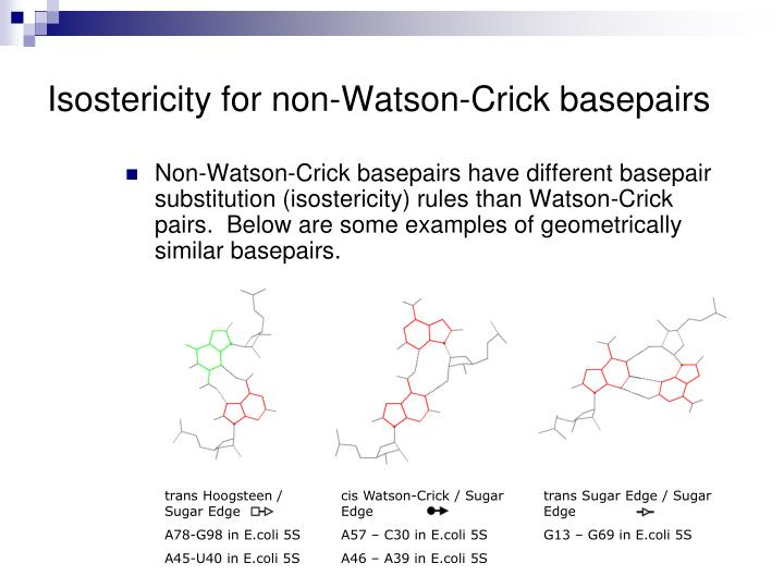 Isostericity for non-Watson-Crick basepairs