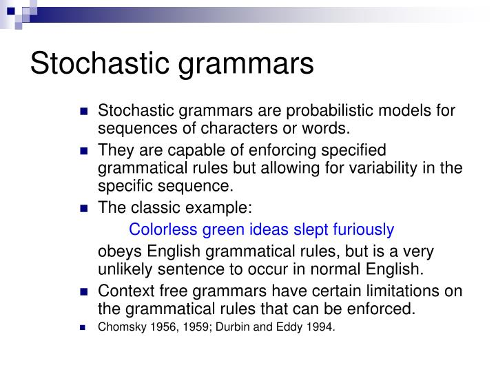 Stochastic grammars