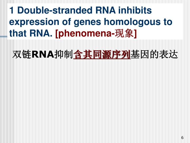 1 Double-stranded RNA inhibits expression of genes homologous to that RNA.