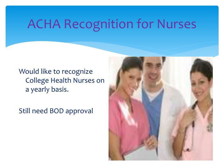 ACHA Recognition for Nurses