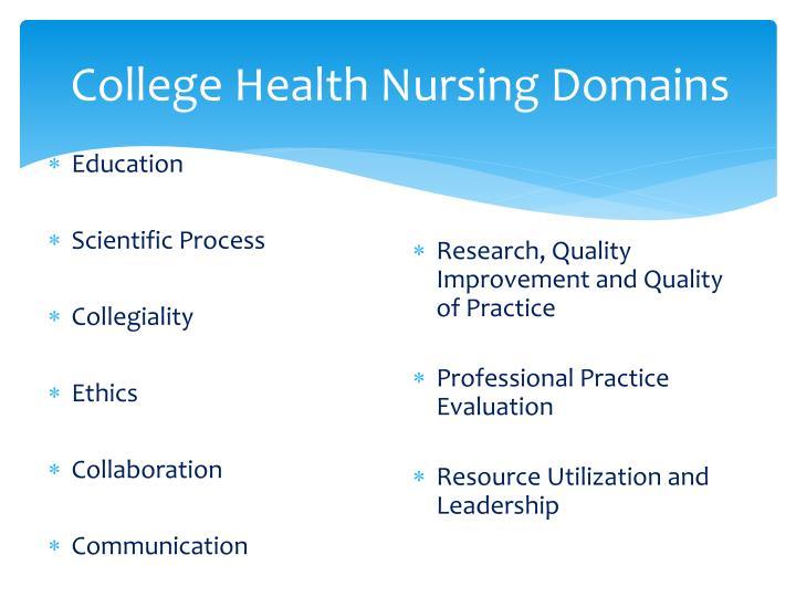 College Health Nursing Domains