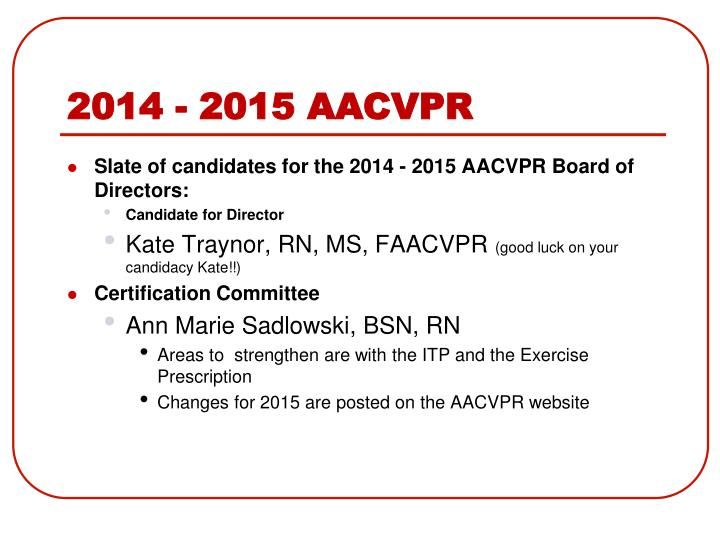 2014 - 2015 AACVPR