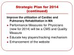 strategic plan for 2014 continued