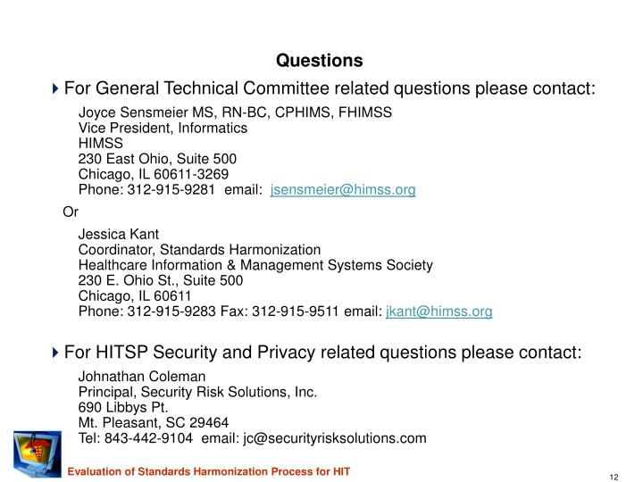 For General Technical Committee related questions please contact: