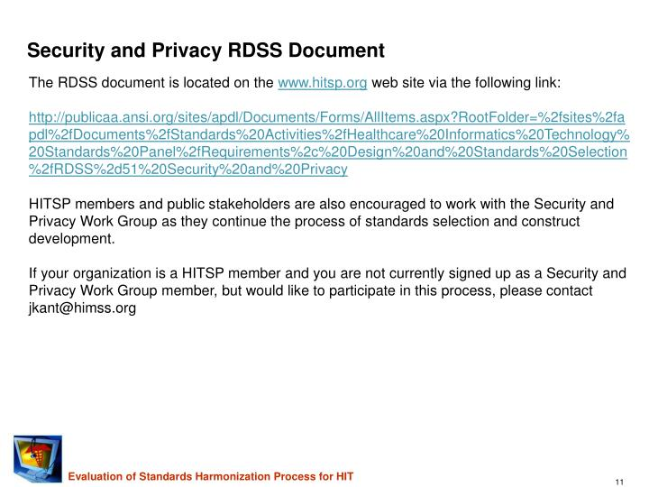 Security and Privacy RDSS Document