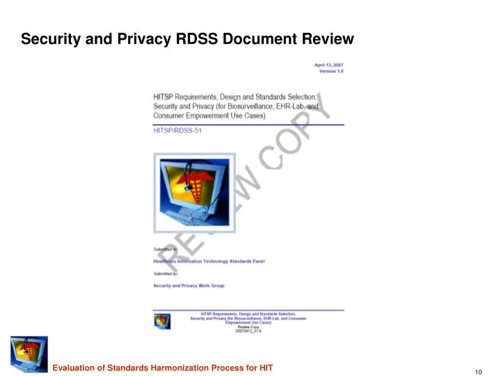 Security and Privacy RDSS Document Review