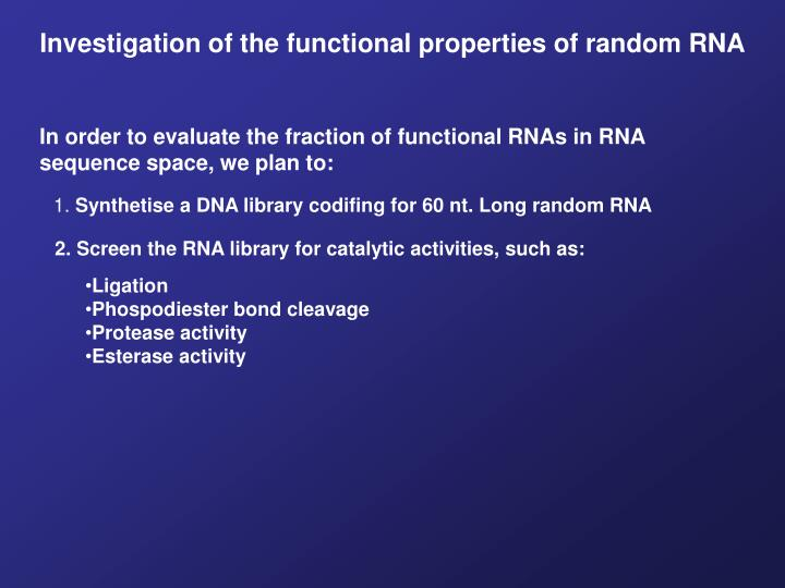 Investigation of the functional properties of random RNA