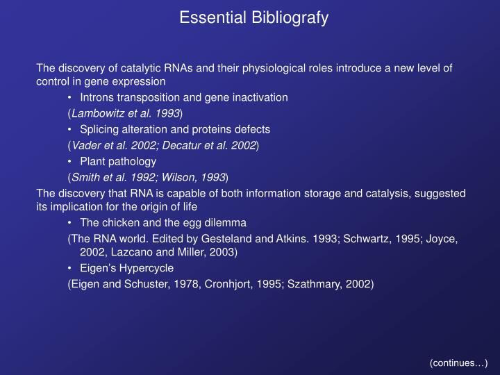 Essential Bibliografy