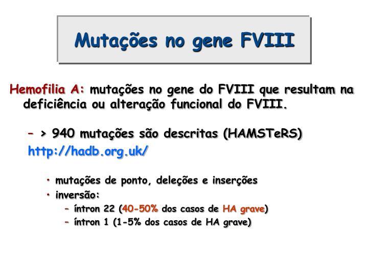 Mutações no gene FVIII