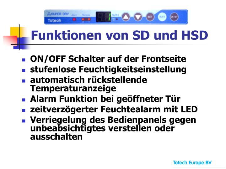 Funktionen von SD und HSD