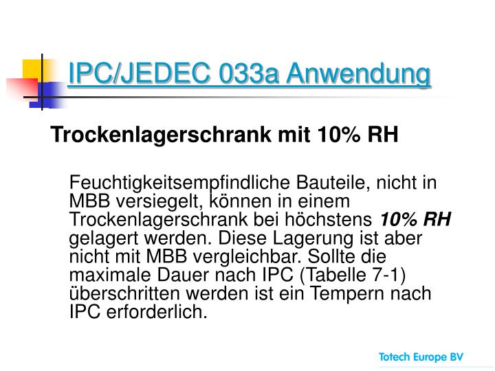 IPC/JEDEC 033a Anwendung