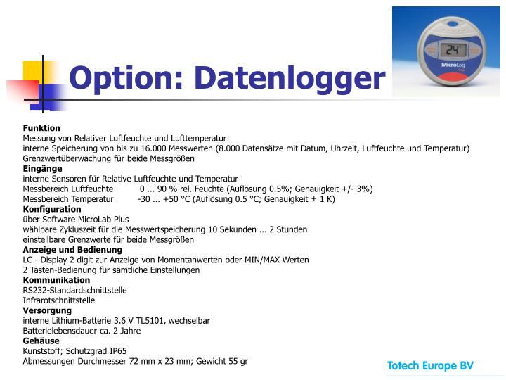 Option: Datenlogger