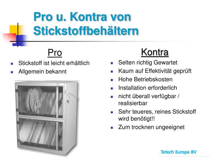 Pro u. Kontra von Stickstoffbehältern