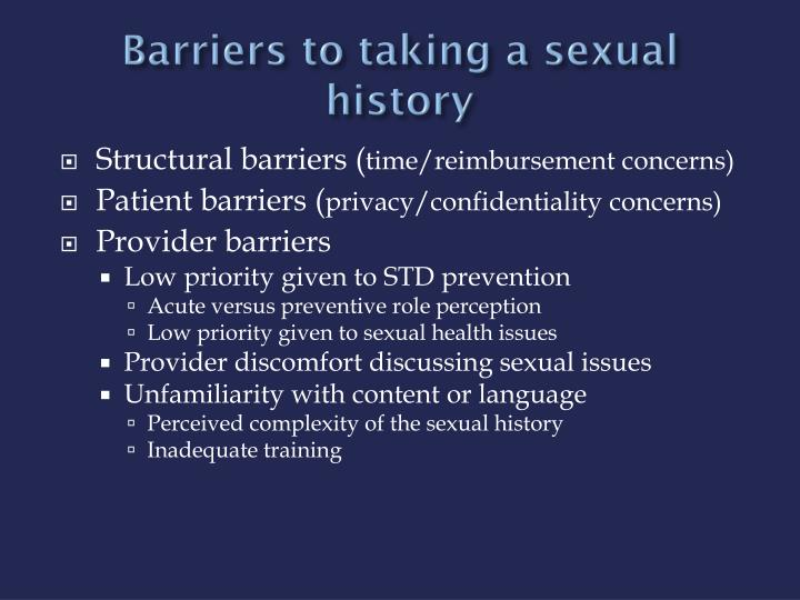 Barriers to taking a sexual history