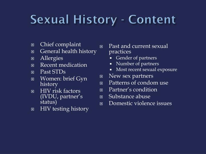 Sexual History - Content