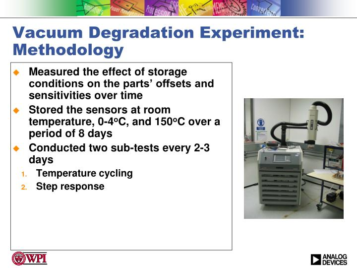 Vacuum Degradation Experiment: Methodology
