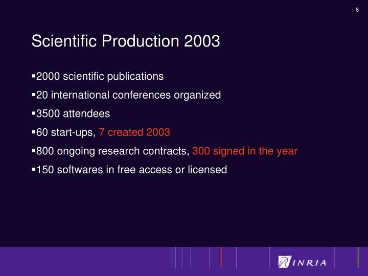 Scientific Production 2003