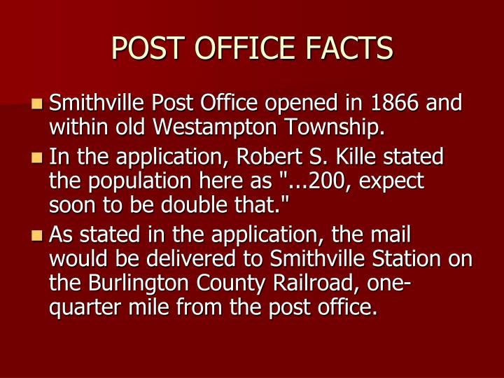 POST OFFICE FACTS