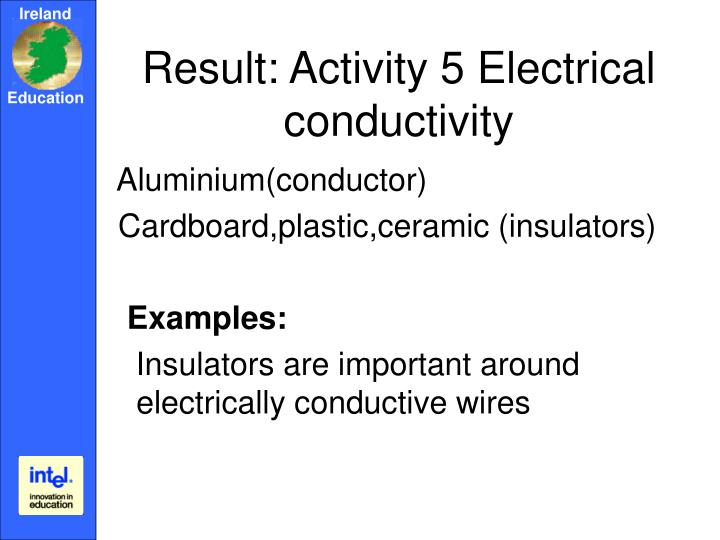 Result: Activity 5 Electrical conductivity
