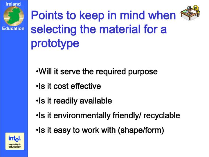 Points to keep in mind when selecting the material for a prototype