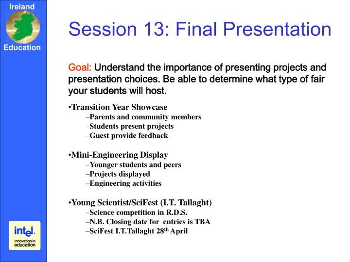 Session 13: Final Presentation